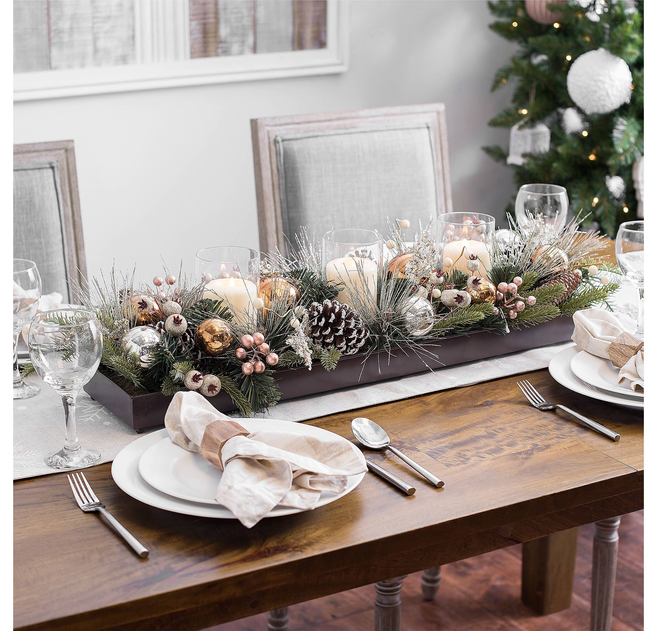 Metallic Berry And Ornament Candle Centerpiece Christmas Table
