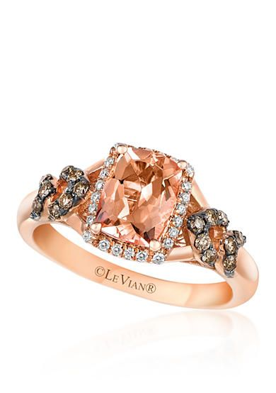 Le vian 14k strawberry gold morganite chocolate diamond for Belk fine jewelry rings