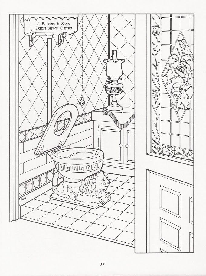 Artwork By Daniel Lewis The Victorian House Coloring Book Dover