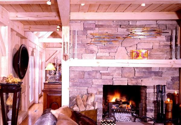 Timber frame home stone fireplace | House Ideas | Pinterest | Stone ...
