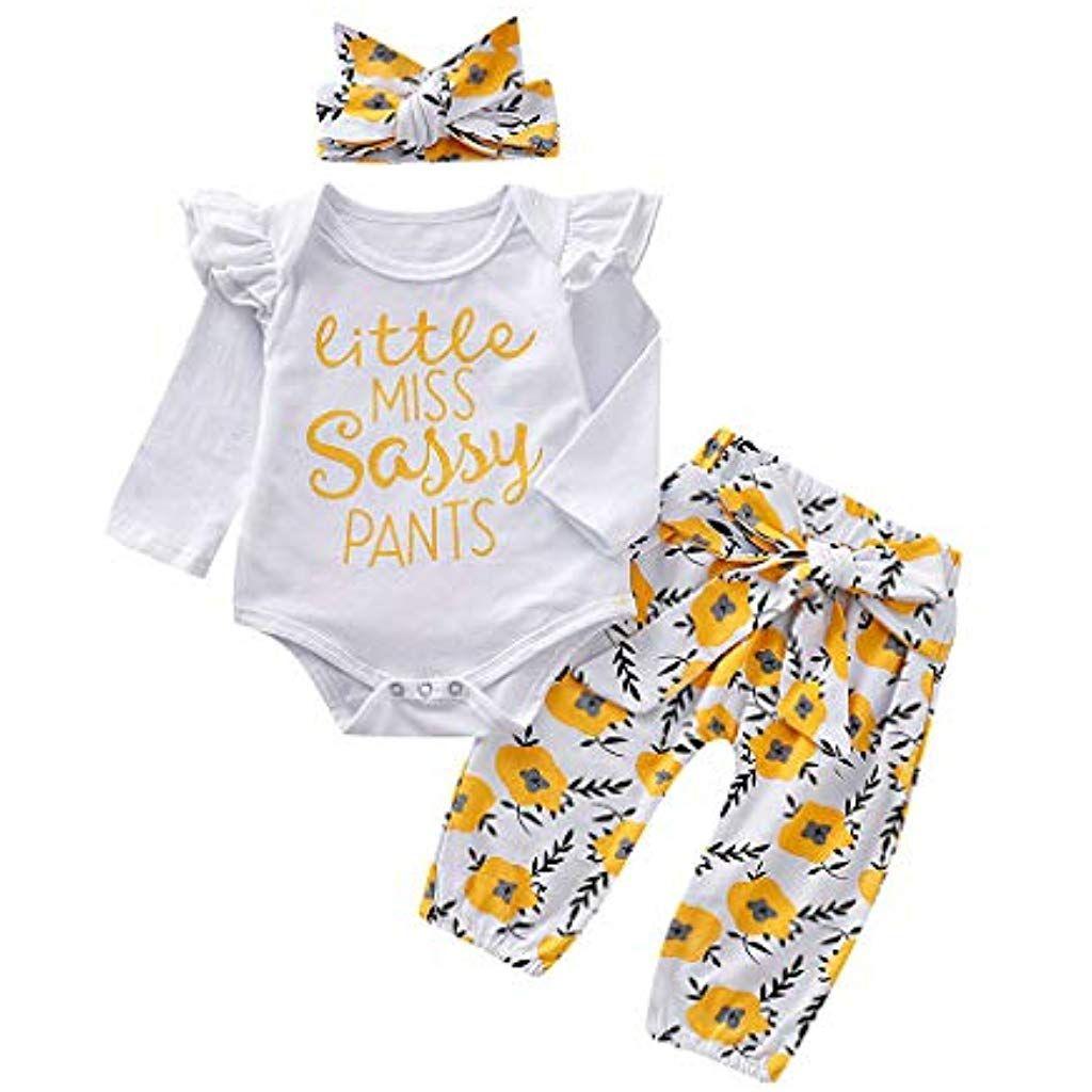 Kobay Babykleidung M/ädchen Winter 4 ST/ÜCKE Kleinkind Baby M/ädchen Blumendruck Top Hosen Kappe Stirnband R/üschen Outfits Set