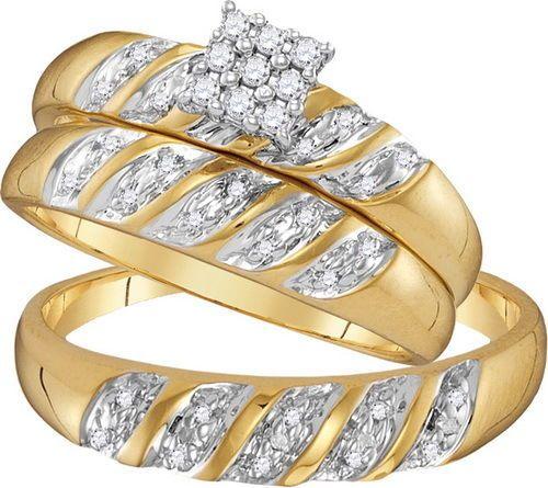 Diamond Cluster Trio Bridal Set Ring - 4.77 gram 10k Yellow Gold 0.09Ct-Diamond #diamondcluster