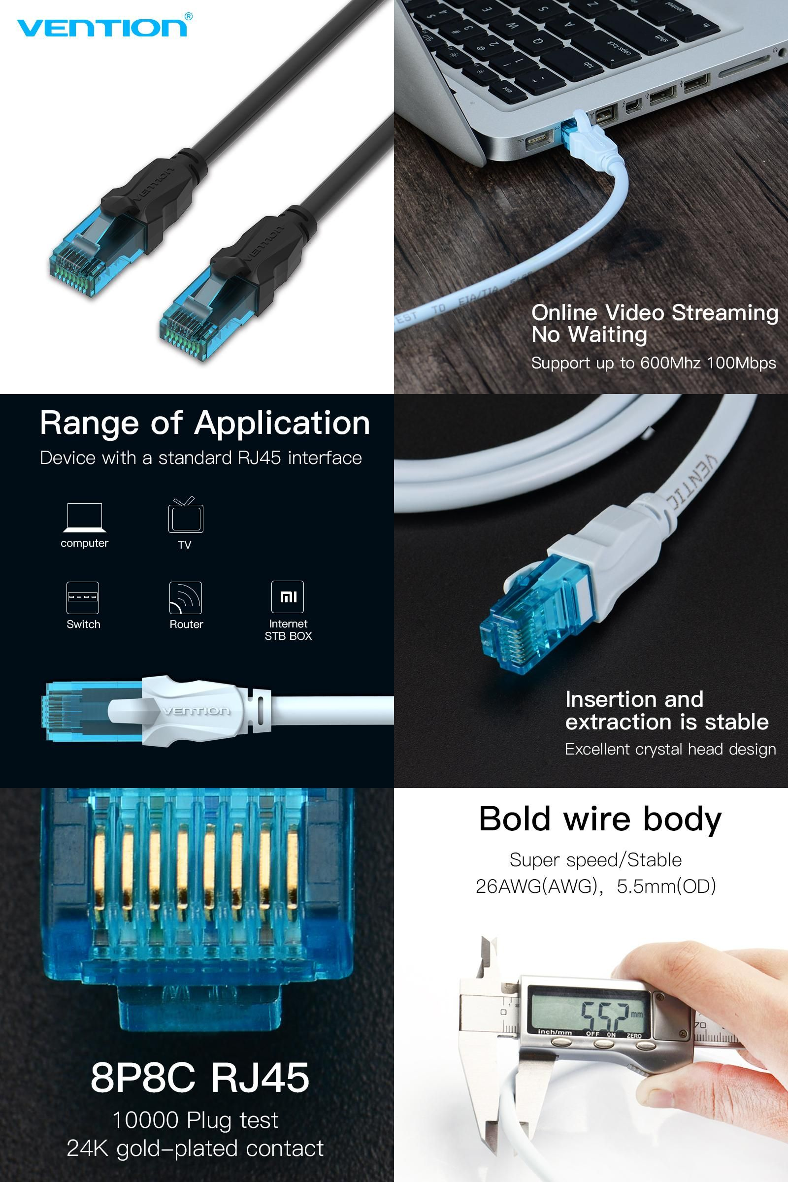 Visit To Buy Vention Ethernet Cable Cat5e Lan Cable Utp Cat 5 Rj45 Network Patch Cable 1m 2m 3m 5m For Computer Router Internet Router Online Video Streaming
