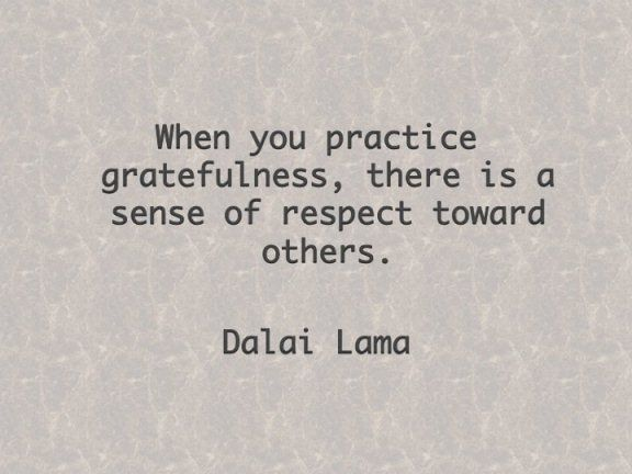 When you practice gratefulness, there is a sense of respect toward others. – Dalai Lama