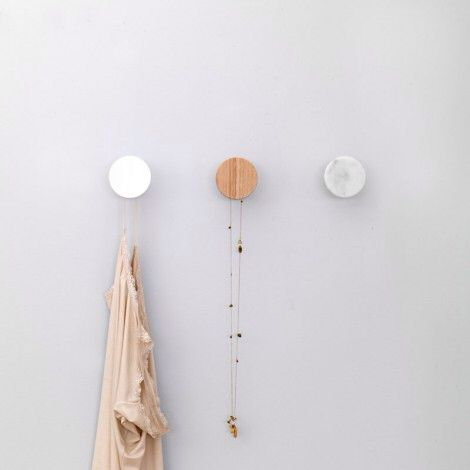White marble DOT coat hooks
