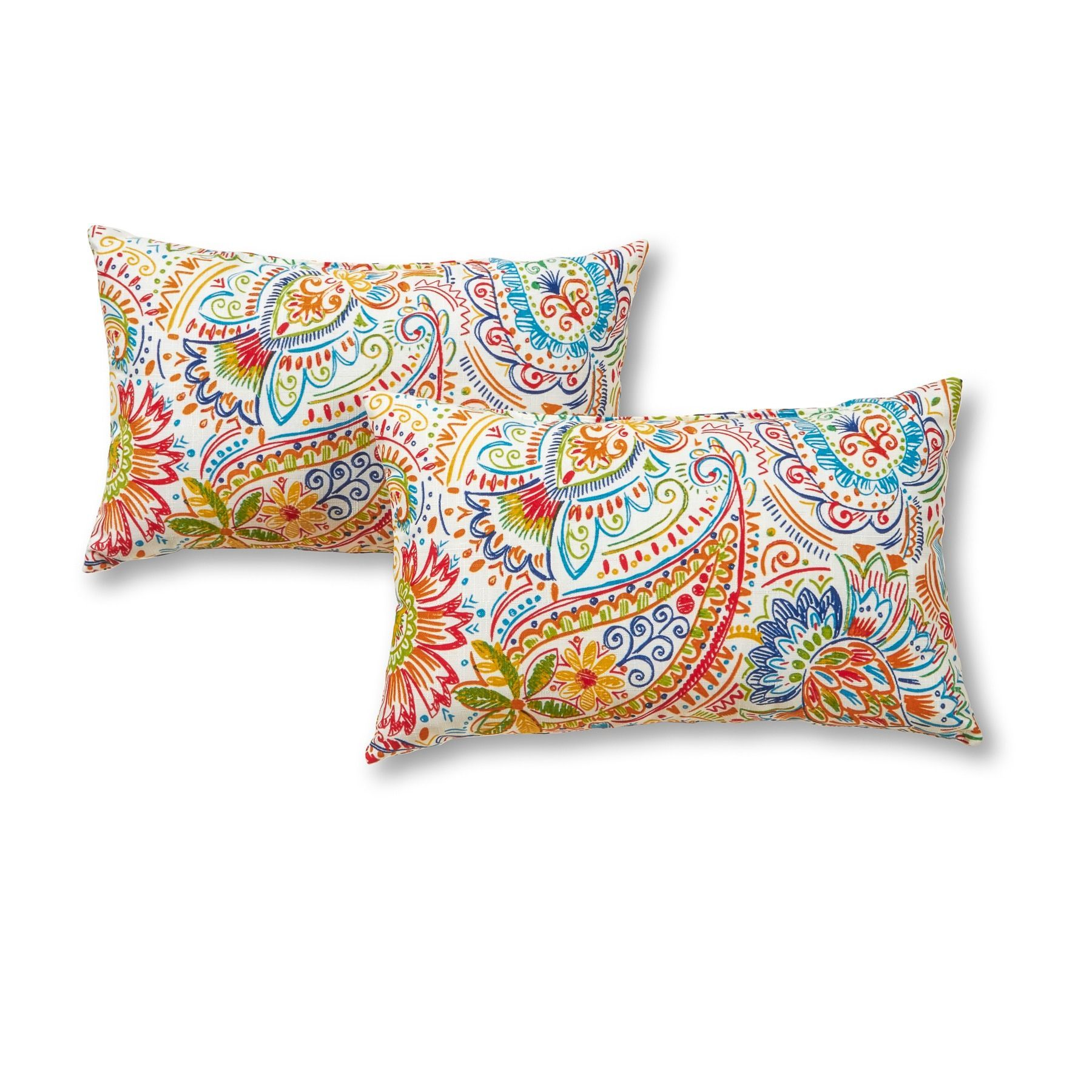 Outdoor Rectangle Accent Pillows Set Of Two In Painted Paisley