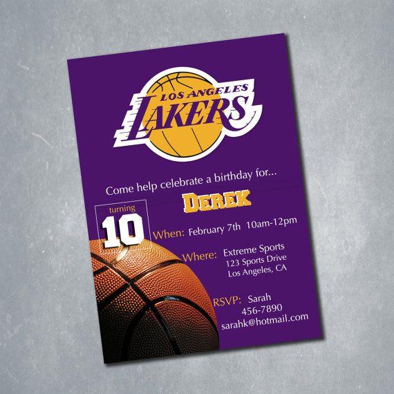 10 Los Angeles Lakers NBA Basketball Birthday Invitation One Sided