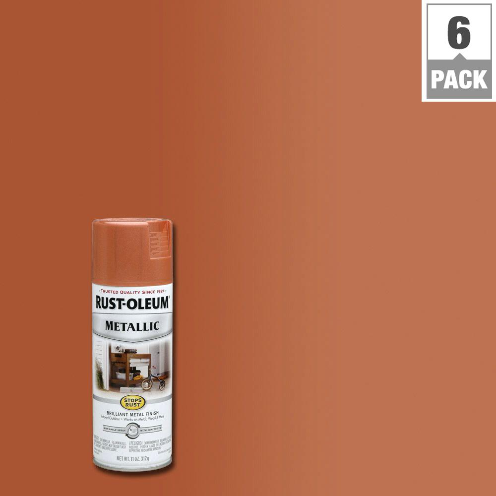 Rust Oleum Stops Rust 11 Oz Metallic Copper Protective Spray Paint 6 Pack 7273830 The Home Depot Metallic Spray Paint Copper Spray Rustoleum