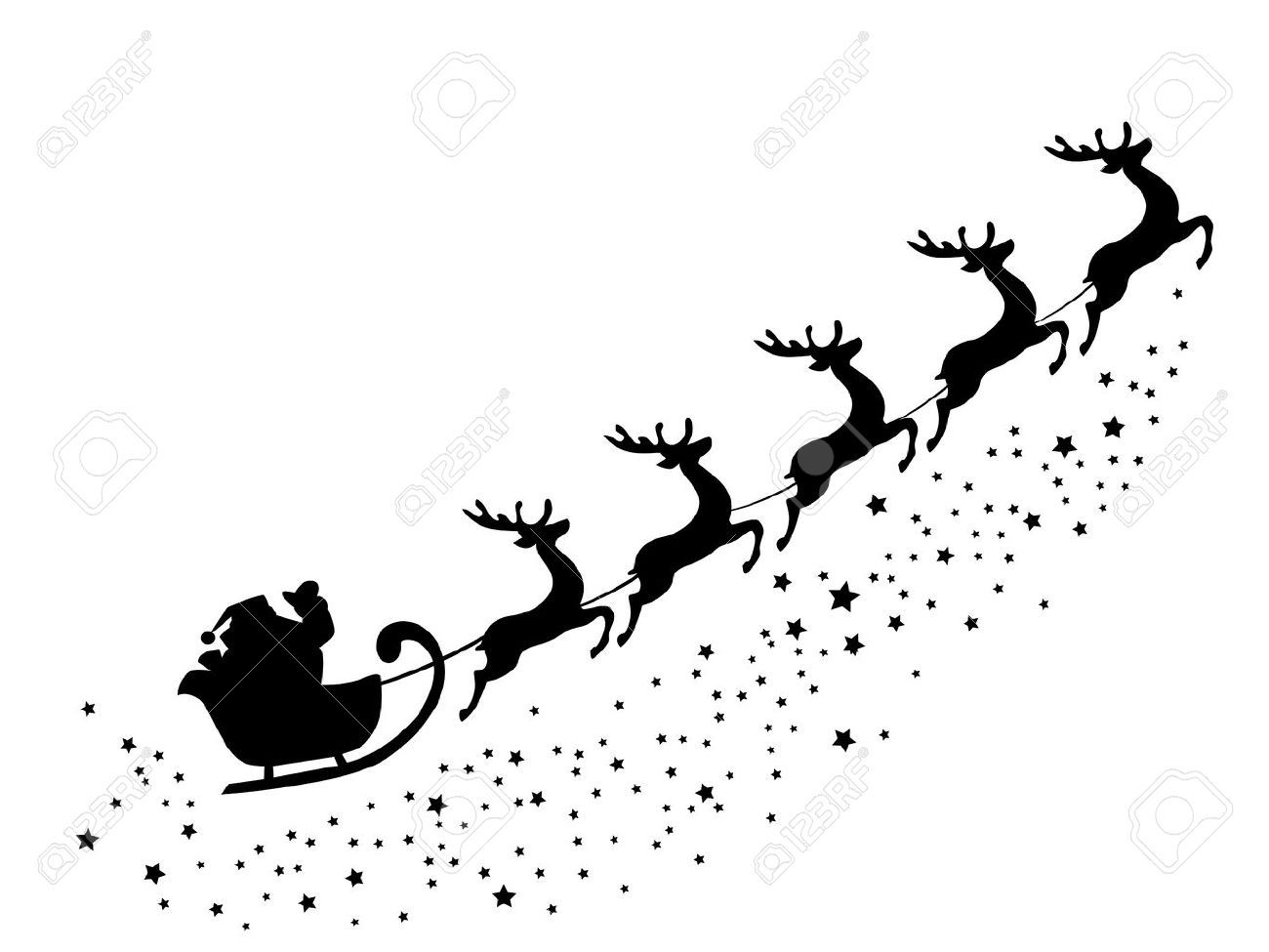 Vector Illustration Of Santa Claus Flying With Deer Santa Claus Vector Deer Illustration Santa And Reindeer