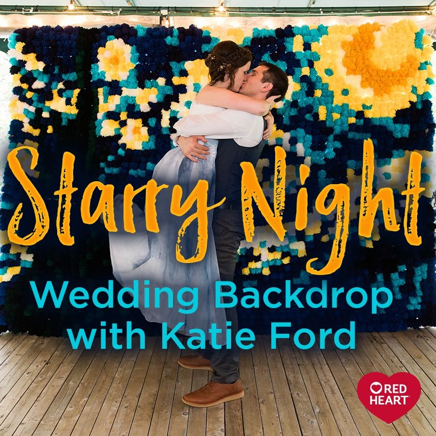 Starry Night Wedding Backdrop with Katie Ford - Several months ago we saw this amazing backdrop of Van Gogh's The Starry Night painting, made in Super Saver pompoms! Katie Ford, an artist, had made it herself for her then-upcoming wedding. Now the wedding and honeymoon are over (congratulations Katie!) and we can share her creativity with all of you!