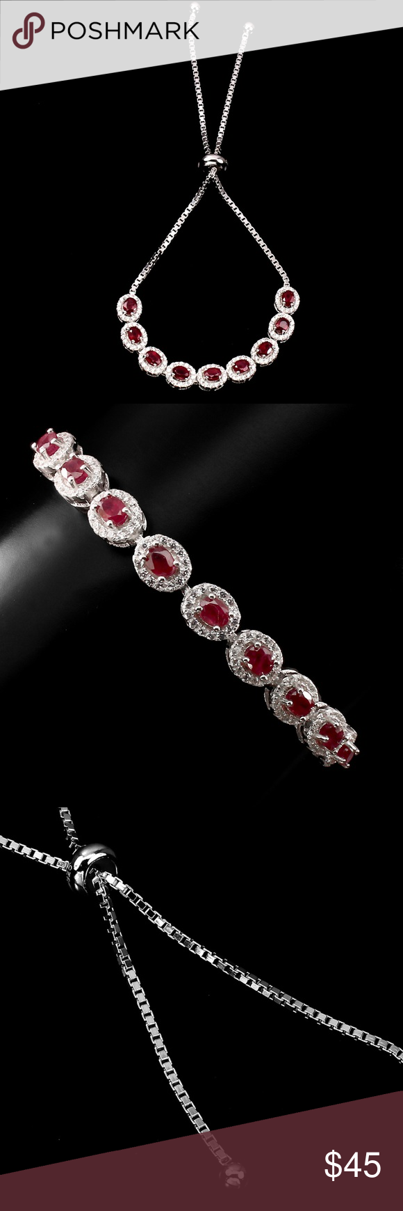 Handmade 5x8mm Faceted Natural Red Ruby jade perles Stretch Bracelet 7.5/""