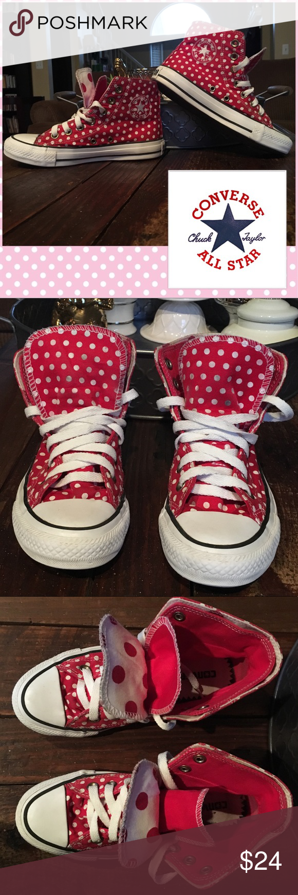 Double Tongue Polka Dot Converse All Stars Hi Tops Adorable