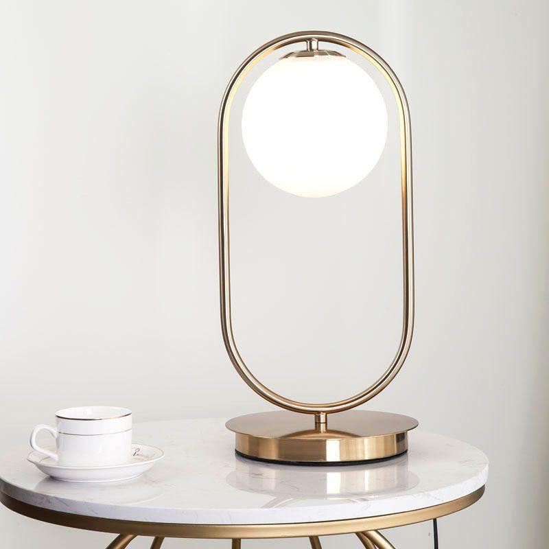 Nordic Simple Table Lamp Glass Round Ball Table Lamp Metal Bracket Light Table Lamp Lighting Decorative Table Lamps Contemporary Table Lamps