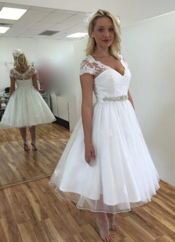 Nice Great 2017 V neck Wedding Dress Summer Short Bridal Gown Custom Size 6 8 10 12 14 16 + 2018
