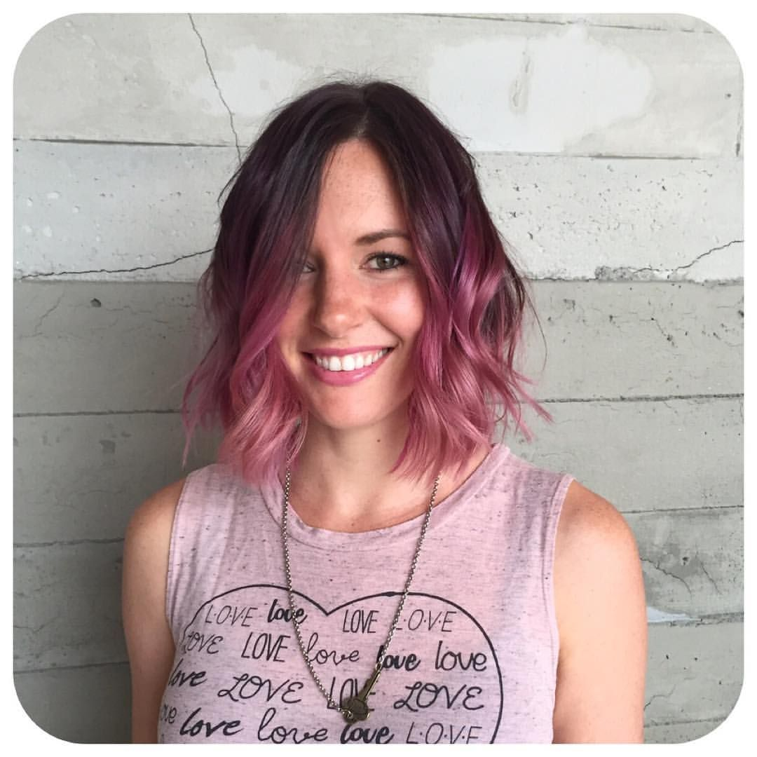 Raspberry colormelt pink ombré bayalage hair color lob long bob