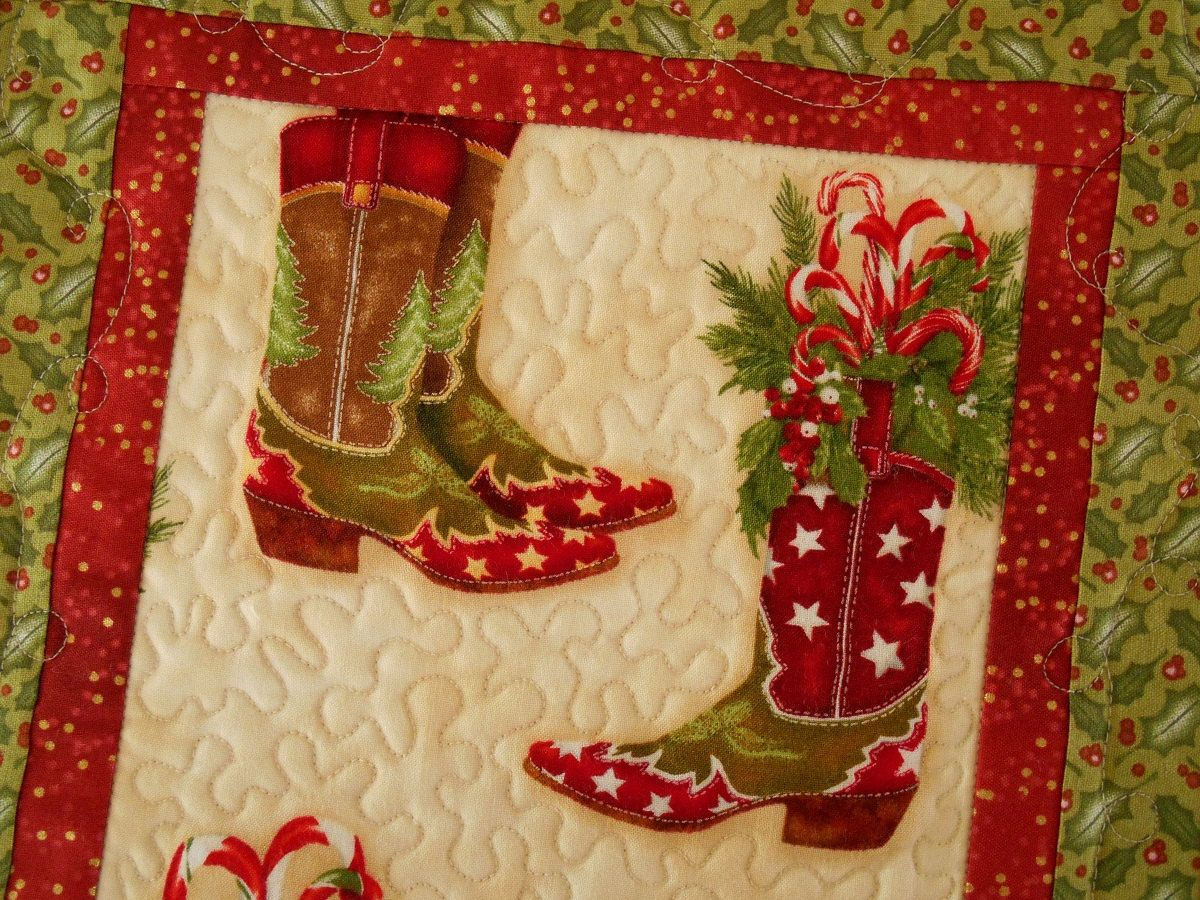 Christmas Cowboy Boots Quilted Wall Hanging or Table Runner ...