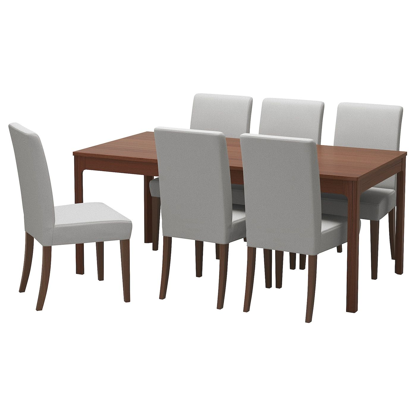 Ekedalen Henriksdal Table And 6 Chairs Brown Orrsta Light