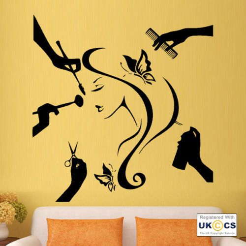 Girl Beauty Salon Hair Dresser Make Up Wall Art Stickers Decals ...
