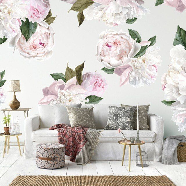 Blushing Peonies Flower wall decals, Wall decals, Decor
