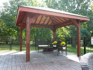 Pavilion With Hip Roof And Exposed Beams Pergola Pergola Patio Pergola Plans