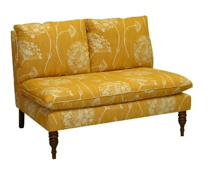 Skyline Furniture Mavericks Love Seat Loveseat Upholstered in Queen Anne's Lace Butterscotch Fabric | Amazon.com. $636. This could work. Only 49 inches long, though. Maybe we could get two!