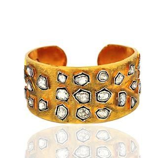 Diamond 925 Sterling Silver 14K Yellow Gold Antique Style Bangle Jewelry