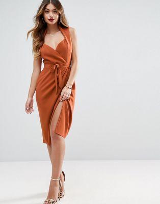 ASOS Shawl Collar Wrap Dress Nice Dresses, Sexy Dresses, Party Dresses,  Tube Dress 56a53d03827