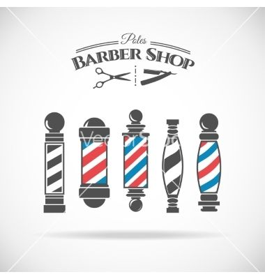 Vector Illustration Barber Shop Vintage Pole Collection Isolated On White Background