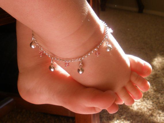 Adjustable 2 x Baby Girls Child Beautiful Silver Jingly Anklet Bracelet Anklet