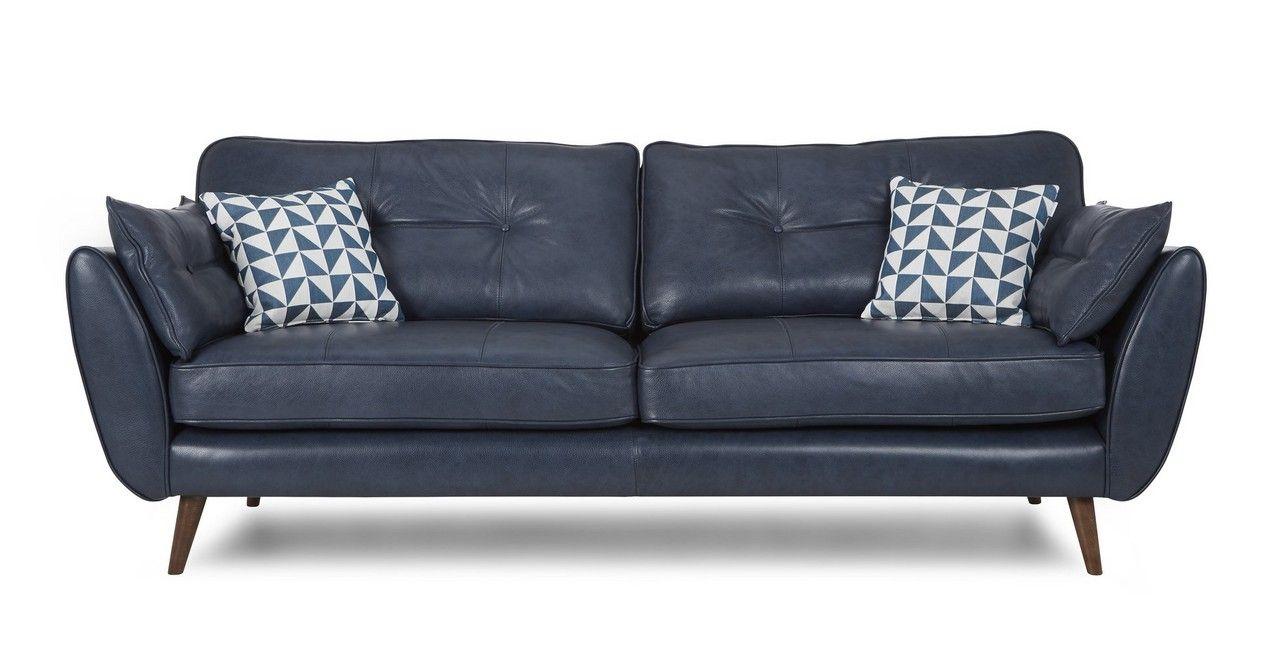 Dfs 4 Seater Sofa Zinc Blue Leather Sofa Leather Sofa Loveseat Leather Sofa
