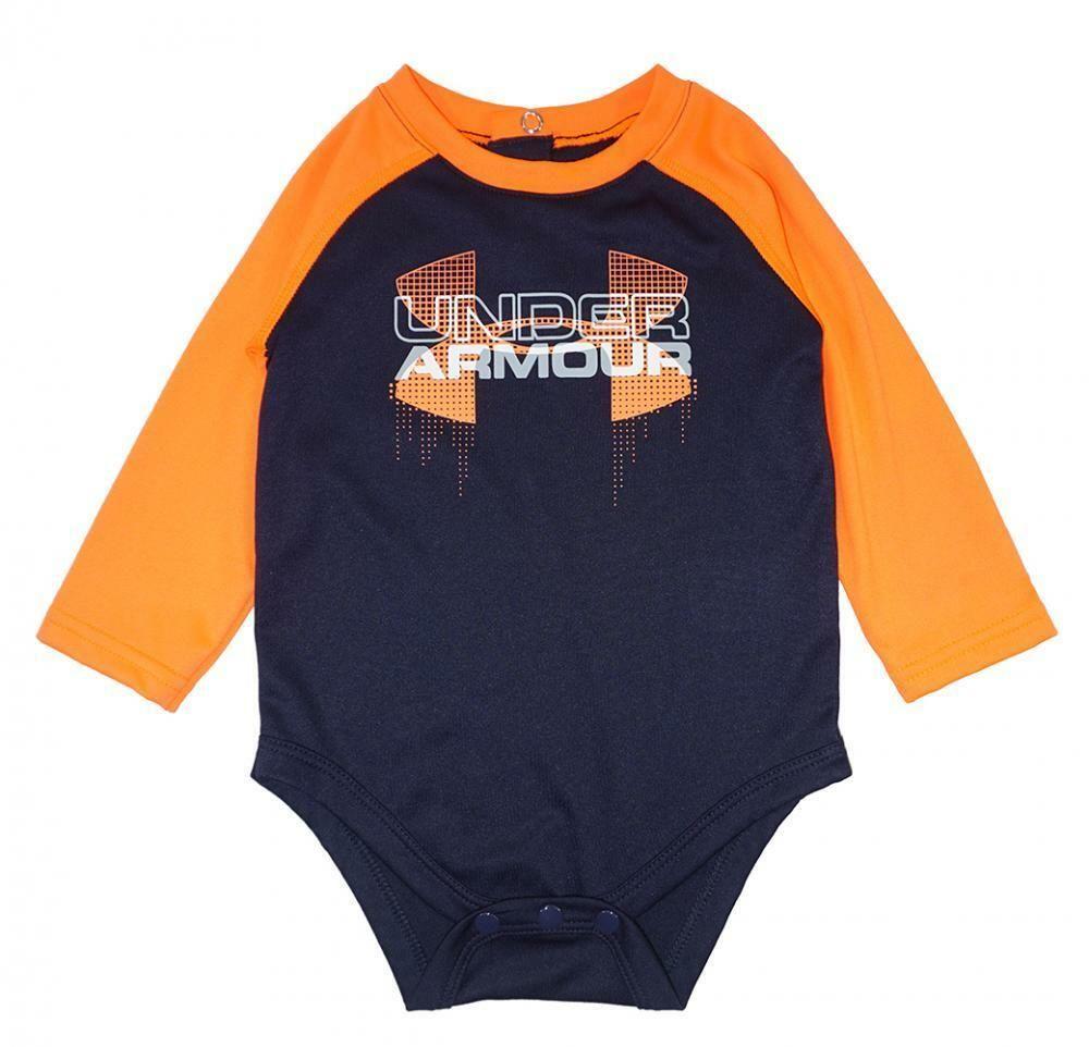 08f033479b Under Armour Infant Boys Navy & Orange Dry Fit Logo Bodysuit Size 6 ...
