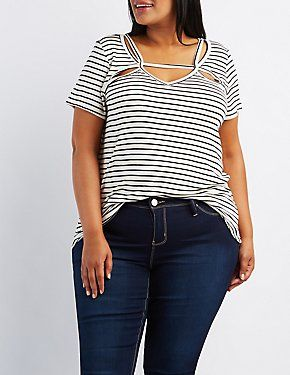 Plus Size Cut-Out Tee