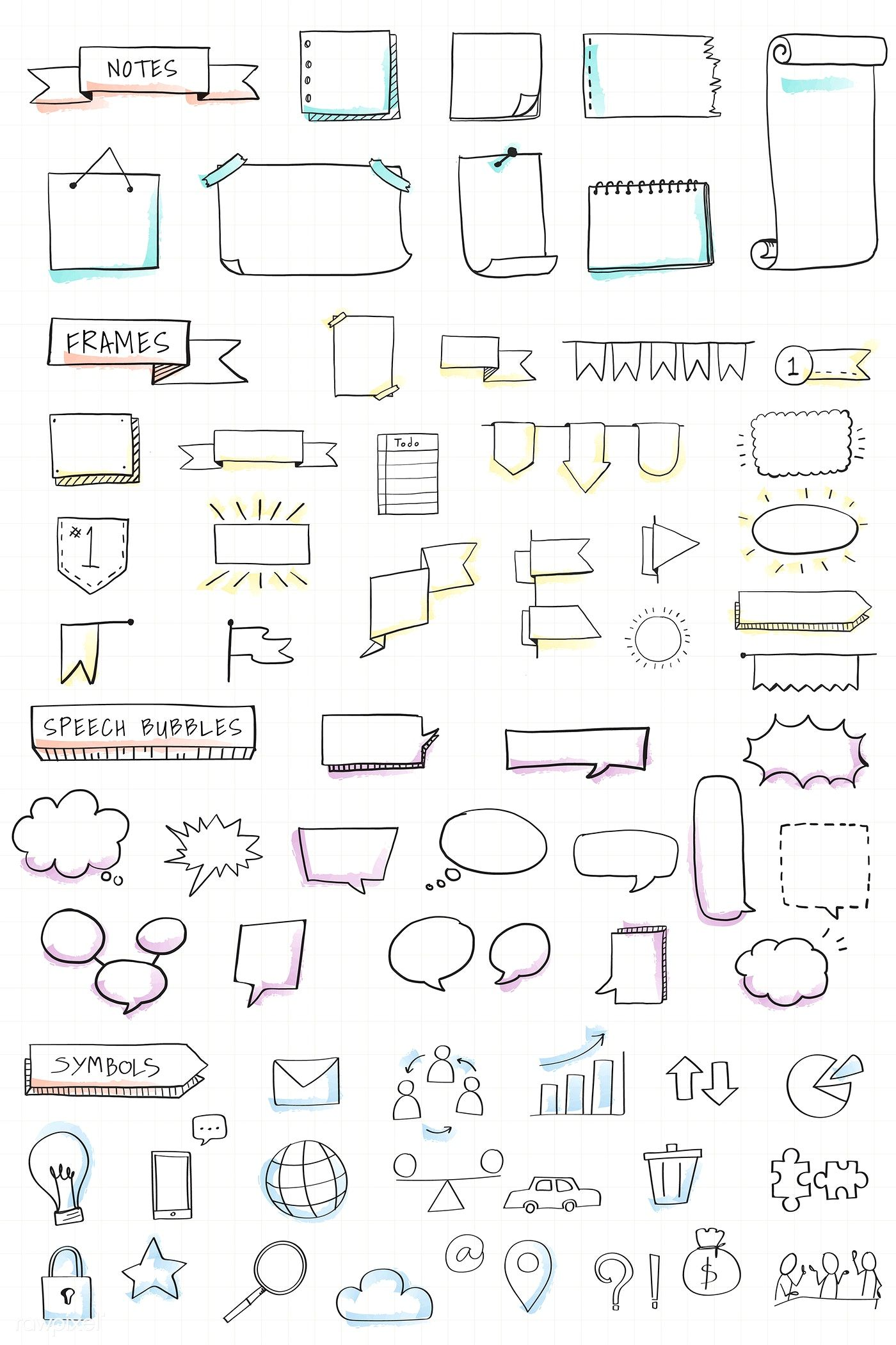 Download premium vector of Hand drawn visual thinking elements vector set #bulletjournalideas