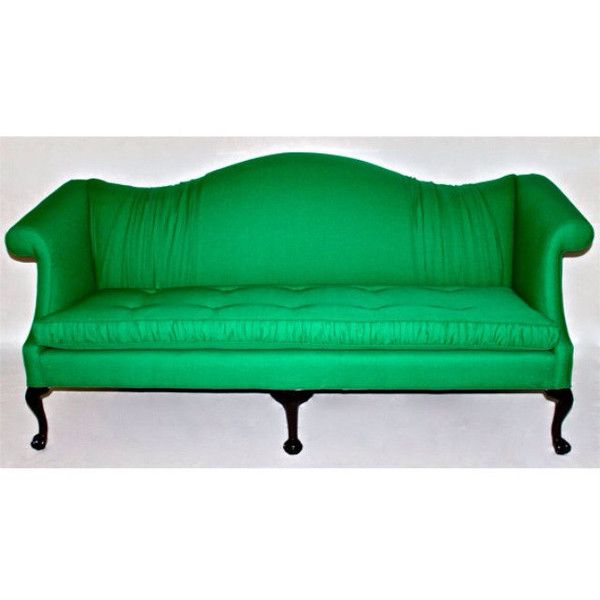 Tufted Ruffled Gatsby Emerald Green Camel Back Vintage Sofa Ruffled Fabric  Gathered Fabric Hollywood Regency Modern Eclectic Chic