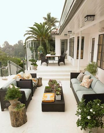Superior Gorgeous, Chic City Deck Patio Space. Black Outdoor Furniture, Green Blue  Outdoor Cushions