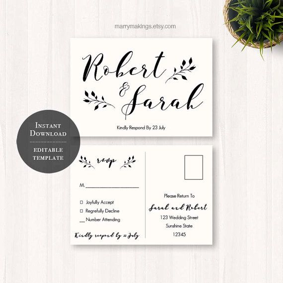 Wedding Invitation Response Cards: Diy Wedding Rsvp Rsvp Template Wedding Printable By