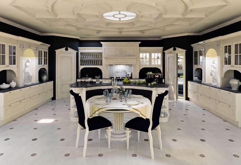 acquario di lusso. kt262 cucina di colore bianco e oro piani ...