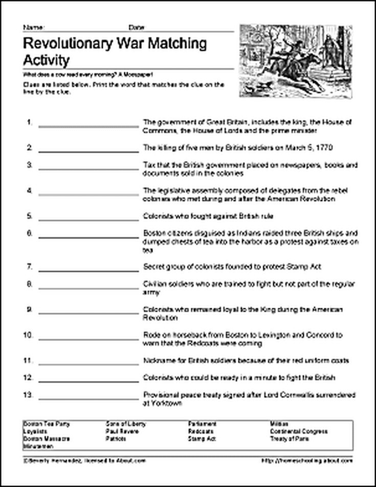 Learn About The Revolutionary War With Free Printables History Worksheets Social Studies Elementary Social Studies Worksheets