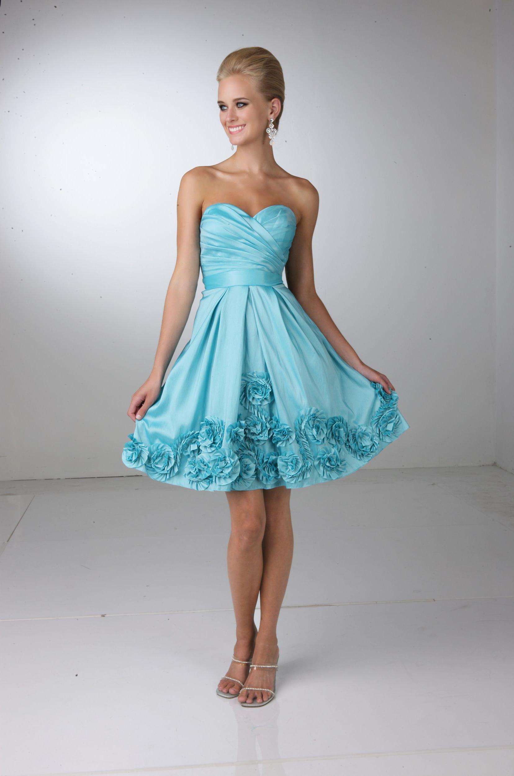 Love this fun knee-length tafetta bridesmaids\' dress. It\'s perfect ...