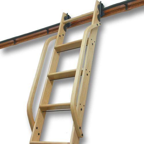 Best Quietglide™ Unfinished Red Oak Wooden Rolling Ladder Hand 400 x 300