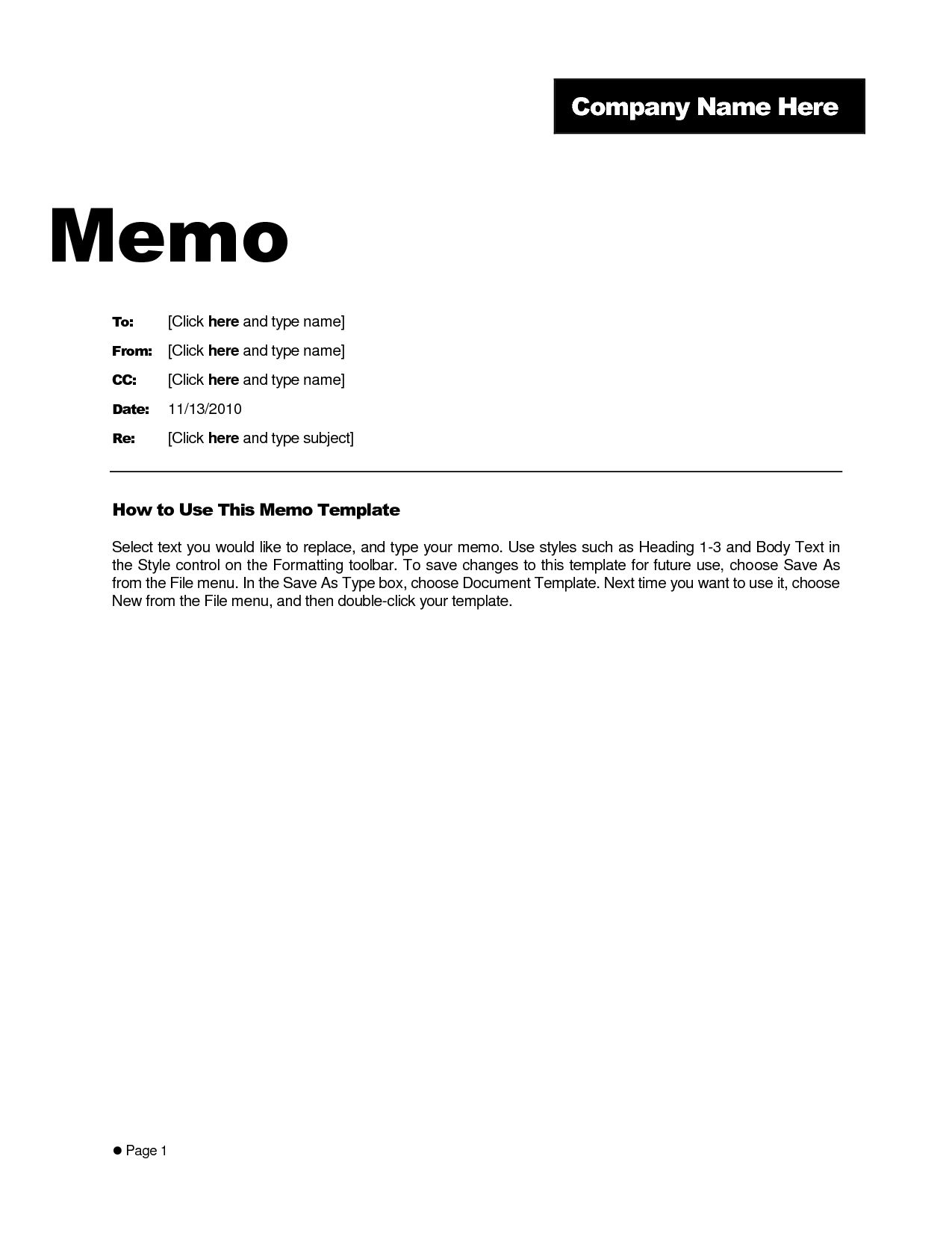 Microsoft Word Memo Template Example Teplates For Every