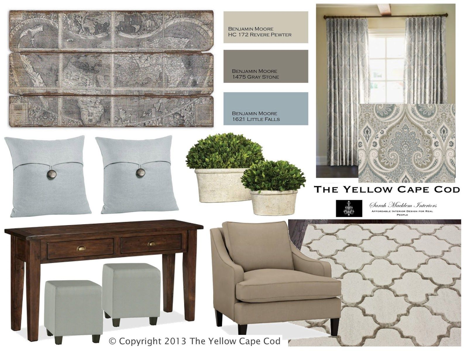 The Yellow Cape Cod.com| Revere Pewter with Light Blue Accents and ...