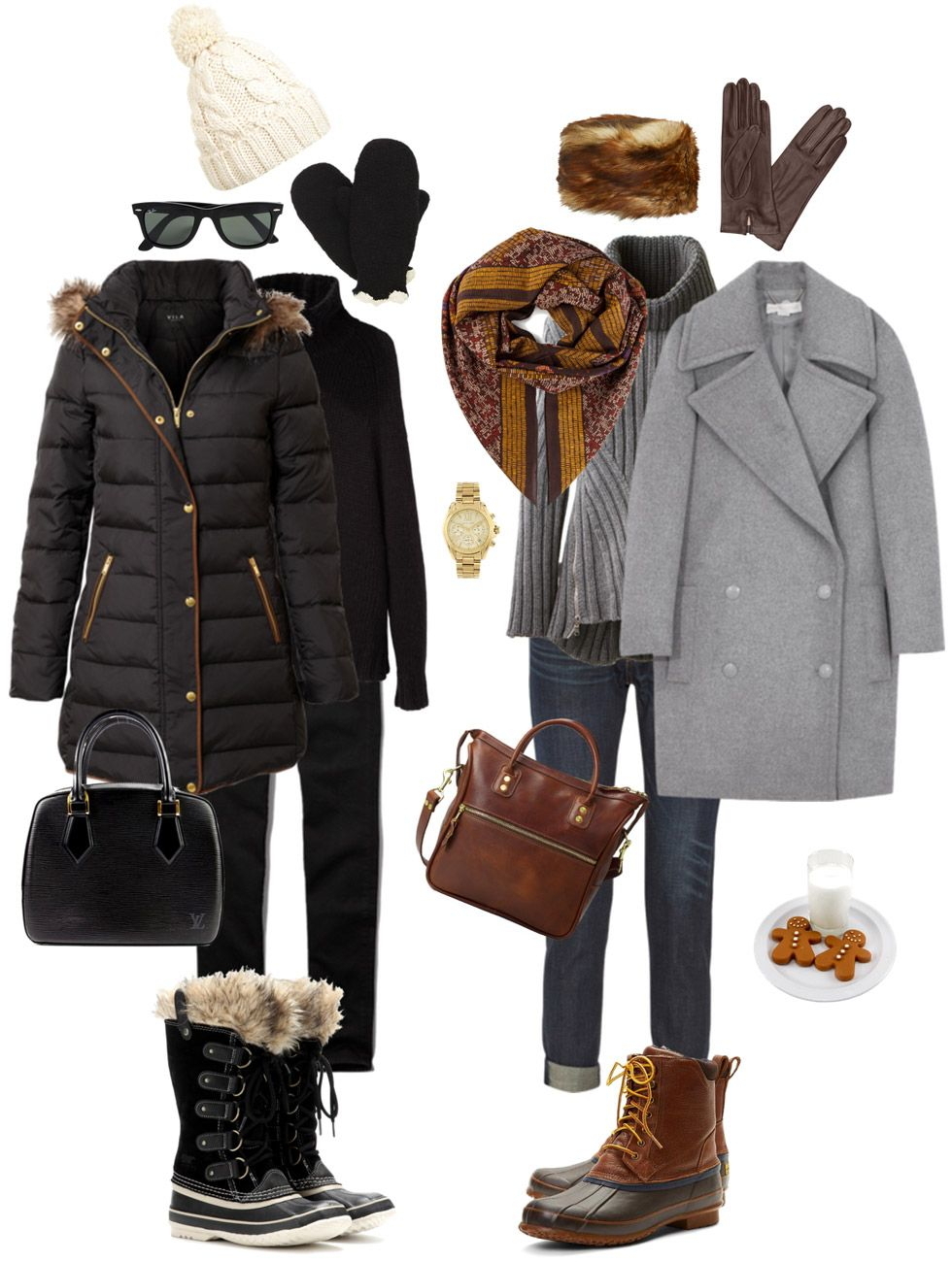 Ensemble: Casual Neutrals with Snow Boots #winteroutfitscold