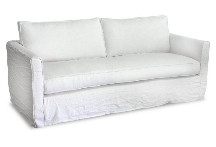 Nothing Is More Inviting Or Elegant Than A White Linen Slipcovered Sofa Linen Sofa Linen Couch Love Seat