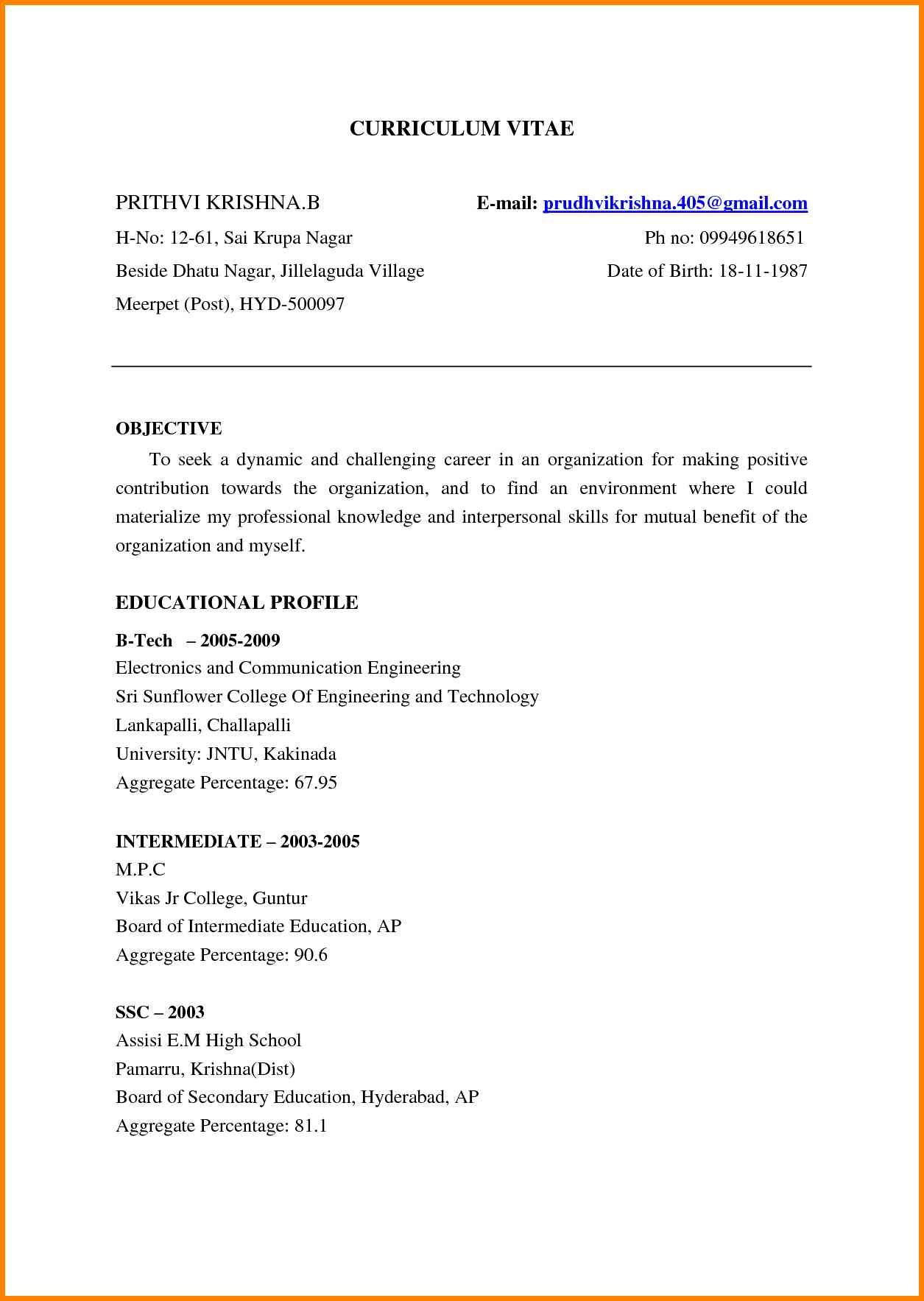 Download Resume Format For Freshers Ece Engineers Fresher