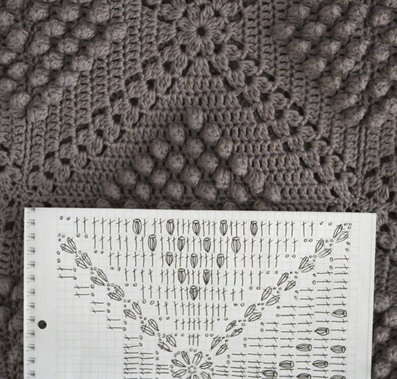 Häkeldecke AnaZard (chart) - popcorn blanket (you\'ll find the ...