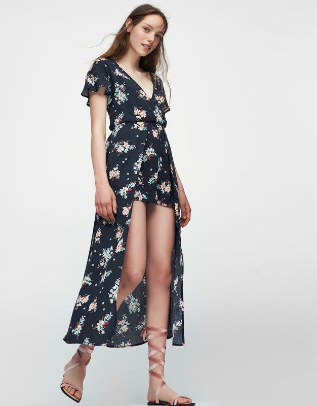 54f91e9da33 Pull Bear - mujer - ropa - petos y monos - mono tipo kimono flores - negro  - 09391304-V2017