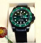 KingsLife Black ROLEX Submariner Green 116610LV DLC / PVD Leather Strap #Rolex #Watch #rolexsubmariner
