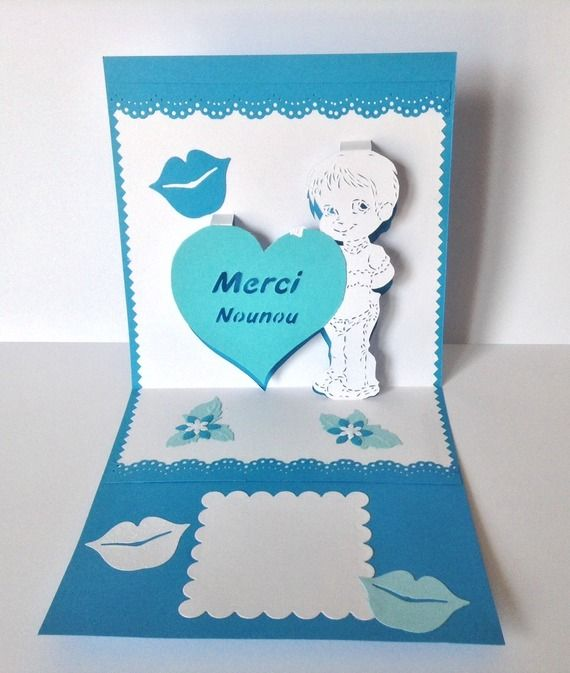 carte kirigami merci nounou cadeau fin d annee pour assistante maternelle kirigami the. Black Bedroom Furniture Sets. Home Design Ideas