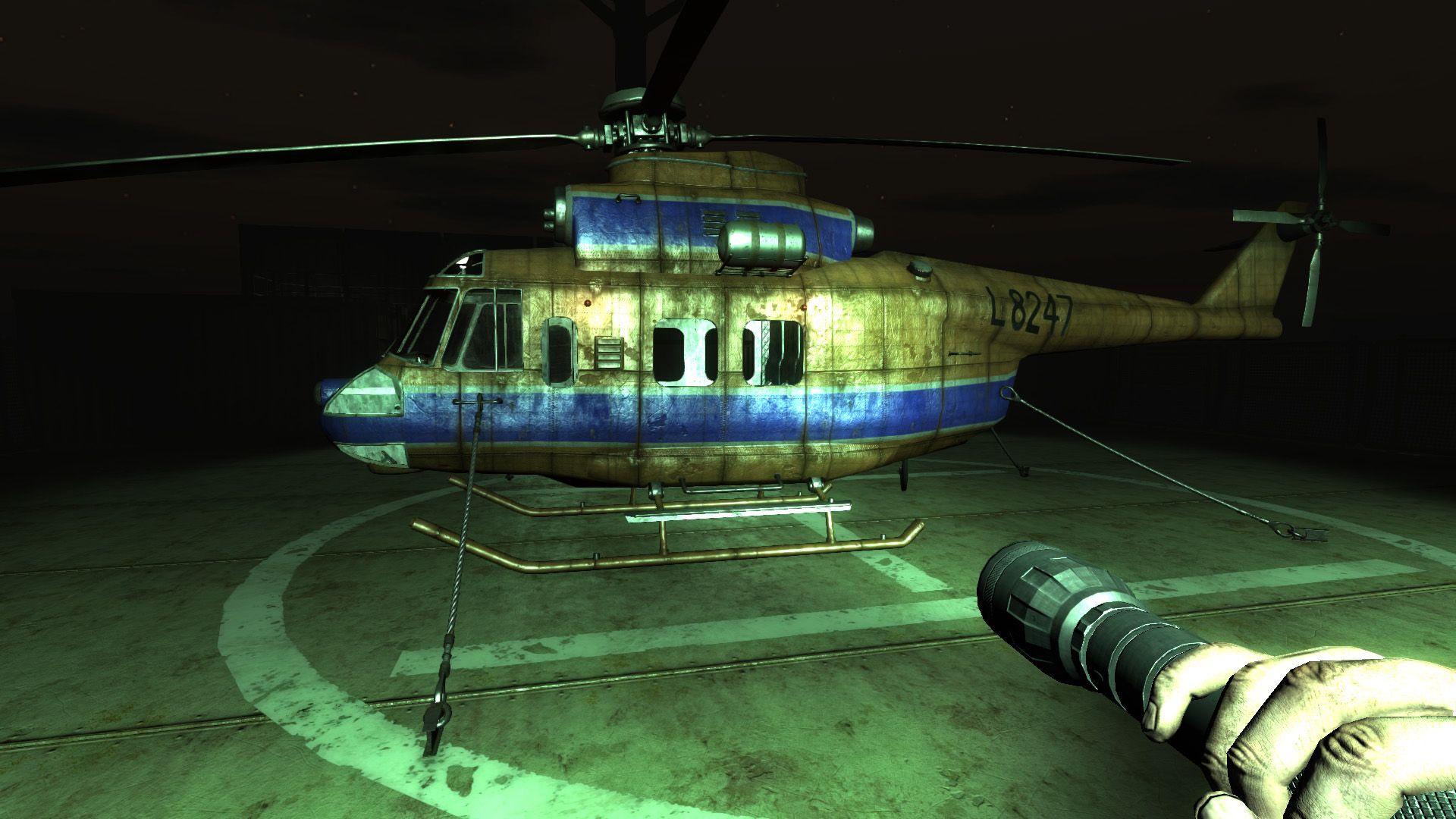Monstrum. S vrtulníky jsem to ve hrách nikdy moc neuměl. Takže tentokrát jsem byl šťastnej. Tenhle neumí lítat.